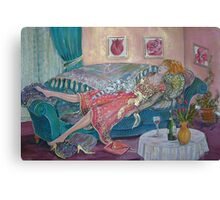 Woman Recovering from the Day Canvas Print