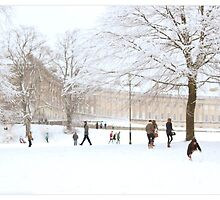 Royal Crescent Fun in the Snow. by Alyson Fennell