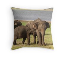 Minneriya Elephants Throw Pillow