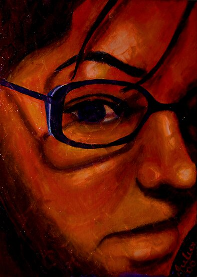 Self portrait with glasses by Julia  Thomas