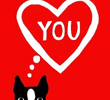 Boston Terrier Valentine Love Card by Jenn Inashvili
