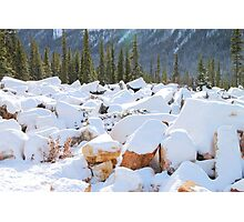 Among the Rocks: Autumn Snow in The Rockies Photographic Print