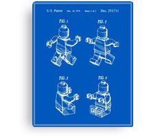 Lego Man Patent - Blueprint (v3) Canvas Print