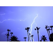 Tropical Palms Trees and a Lightning Thunder Storm, ll  Photographic Print