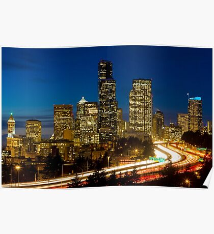 Downtown Seattle at Night Poster