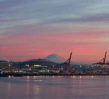 Port of Seattle and Mt. Rainier at Sunset by journeysincolor