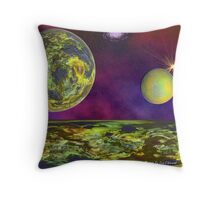Twin Planet Fly-Over Throw Pillow