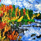 """Fiery Glow Around The Lake"", Finger Painting by Ruth Kauffman"