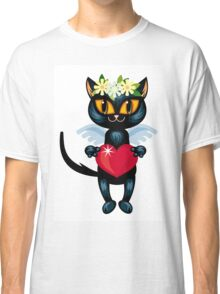 Black cat flying like an angel with red heart Classic T-Shirt