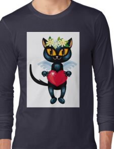 Black cat flying like an angel with red heart Long Sleeve T-Shirt