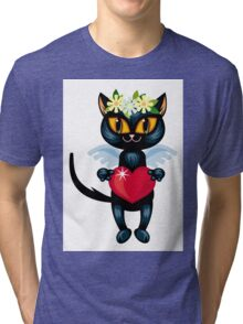Black cat flying like an angel with red heart Tri-blend T-Shirt