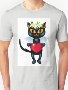Black cat flying like an angel with red heart Unisex T-Shirt