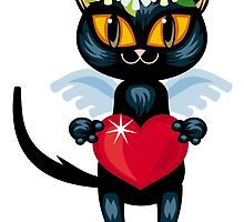 Black cat flying like an angel with red heart by hollada