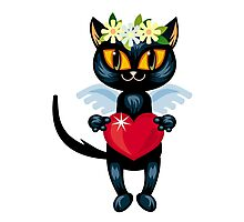 Black cat flying like an angel with red heart Photographic Print