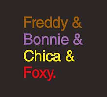 freddy & bonnie & chica & foxy by elishe