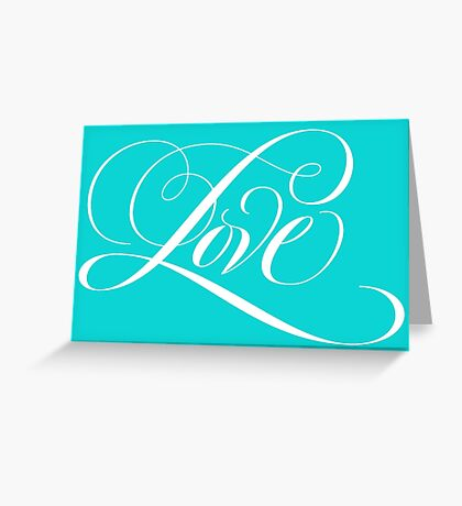 Elegant White Flourished 'Love' Valentine Calligraphy Script Hand Lettering on Tiffany Blue Greeting Card