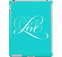 Elegant White Flourished 'Love' Calligraphy Script Hand Lettering on Aqua Blue iPad Case/Skin