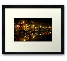 Amsterdam night: canal in Red District Framed Print