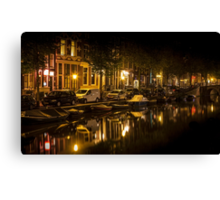 Amsterdam night: canal in Red District Canvas Print