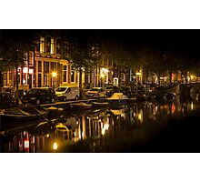 Amsterdam night: canal in Red District Photographic Print