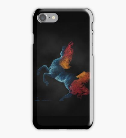 Self Destruction: Rearing Fire and Ice Horse Inverted Painting iPhone Case/Skin