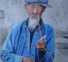 Old man smoking by jadlart