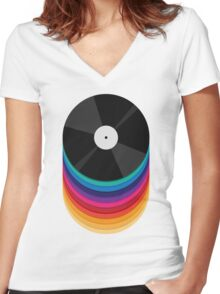 Rainbow Records Women's Fitted V-Neck T-Shirt