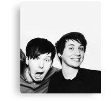 Black and White// Dan And Phil!!! Canvas Print