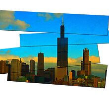 Sears Tower and vintage buildings by Linda Matlow