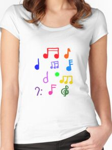 Colorful Music Notes  Women's Fitted Scoop T-Shirt