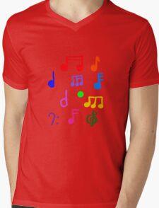 Colorful Music Notes  Mens V-Neck T-Shirt