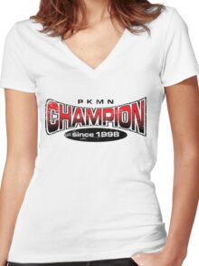 Pokemon Champion_Red Women's Fitted V-Neck T-Shirt