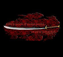 Katana with Quote and Blood by ethanfa