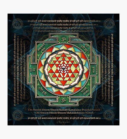 Maha Lakshmi (Laxmi) Mantra & Shri Yantra - Wealth Giving Photographic Print