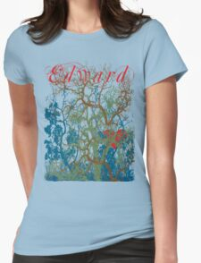 Tangled Forest with Beating Heart and the word EDWARD Womens Fitted T-Shirt
