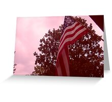 American flag from a childs view Greeting Card
