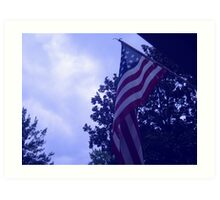 American flag blue hue from a childs view Art Print
