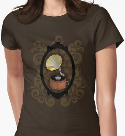 VINTAGE GRAMOPHONE Womens Fitted T-Shirt