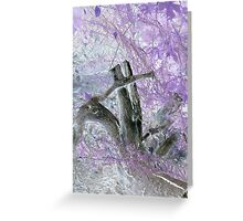 tree stump surrounded by beautiful colors of purple leaves from a childs view Greeting Card