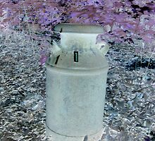 Antique milk can altered art view from a child  by bkind2animals