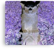 Victorian evil gothic Gargoyle purple hues altered art from a childs view Canvas Print