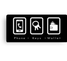 PKW- Phone Keys Wallet Check Canvas Print
