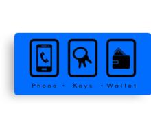PKW- Phone Keys Wallet Check - dark Canvas Print