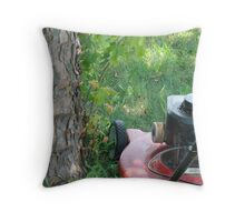 mower and tree Throw Pillow
