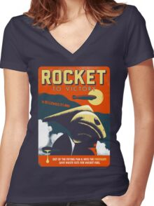 Rocket To Victory Women's Fitted V-Neck T-Shirt