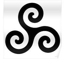 Triskele Chest Design (Black) Poster