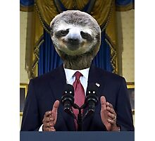 Obama Sloth Photographic Print