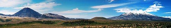 Two Volcanoes, Two Moods, One Frame by Peter Kurdulija