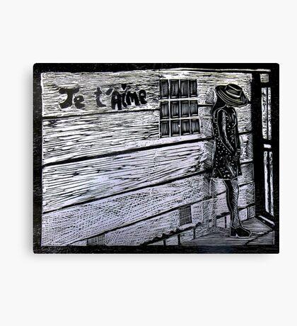 Je'taime-Woodcut Canvas Print