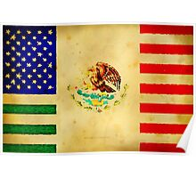 MEXICAN AMERICAN FLAG - 017 Poster